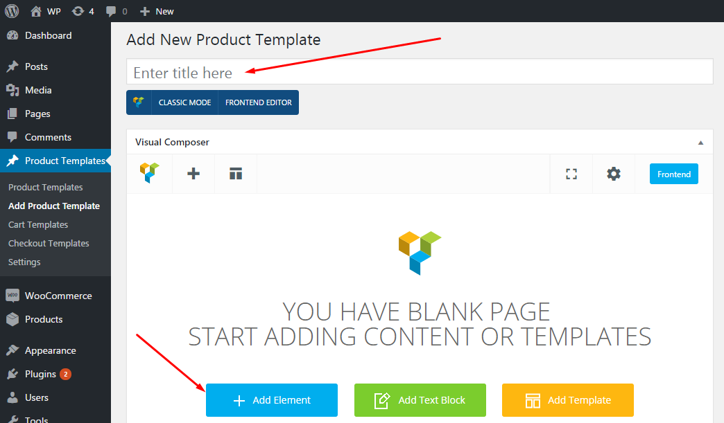 Single product page templates